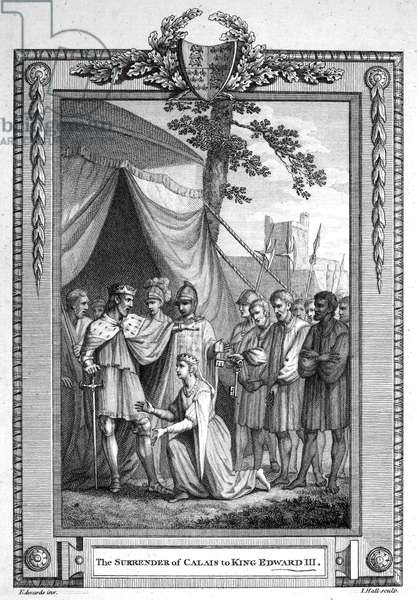 EDWARD III (1312-1377) King of England, 1327-1377. Edward accepting the surrender of Calais, France, in August 1347. Line engraving, English, 1776.