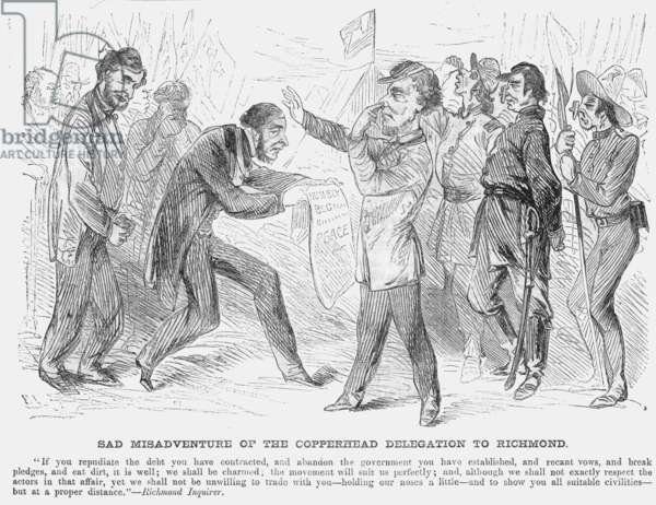 CIVIL WAR: COPPERHEAD, 1863 A Northern American newspaper cartoon of 1863 satirizing the cool reception of Copperhead leaders at the capitol of the Confederacy.