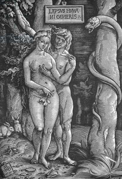 ADAM & EVE Woodcut by Hans Baldung Grien, 1511.