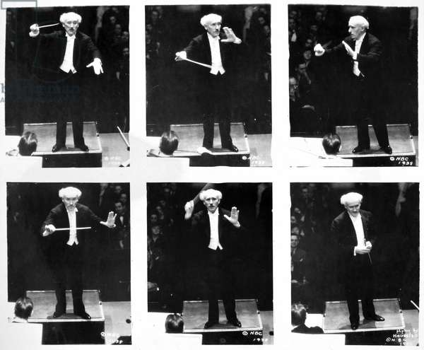 ARTURO TOSCANINI (1867-1957). Italian orchestral conductor. A photographic sequence of Toscanini conducting the NBC Symphony Orchestra in 1938.