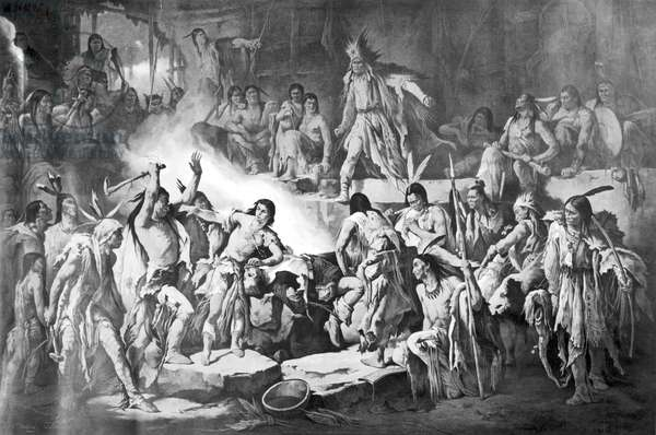 POCAHONTAS (1595?-1617) Native American princess. Pocahontas saving the life of Captain John Smith, late December 1607. Lithograph by Victor Nehlig, 1874.