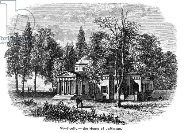 JEFFERSON: MONTICELLO Monticello, the home of Thomas Jefferson near Charlottesville, Virginia. Wood engraving, 19th century.