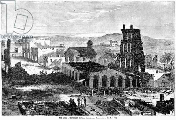 KANSAS: LAWRENCE, 1863 The ruins of Lawrence after the raid by Confederate guerrillas led by William Clarke Quantrill (1837-1865). Contemporary wood engraving.