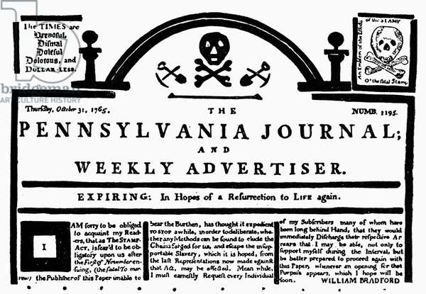 STAMP ACT, 1765 Banner of the 'Pennsylvania Journal,' 31 October 1765, with a skull-and-crossbones replacing the stamp required by law in protest of the Stamp Act.