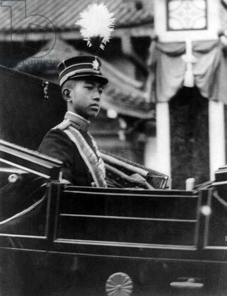 HIROHITO (1901-1989) Emperor of Japan, 1926-1989. Photographed in 1912, seated in a carriage.