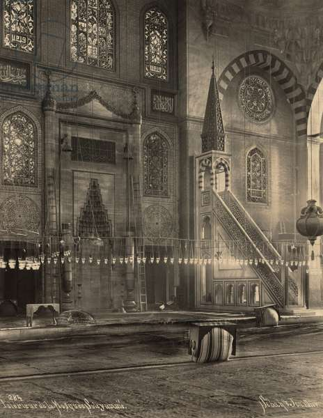 SULEYMANIYE MOSQUE Interior of the Ottoman imperial mosque in Istanbul, Turkey, built by Sultan Suleiman I, 16th century. Photograph, c.1900.