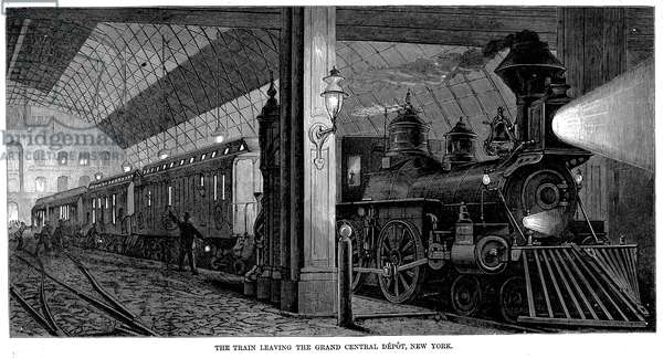 POSTAL SERVICE, 1875 The 'Lightning Express' mail train leaving Grand Central Station in New York City for Chicago. Wood engraving, 1875.