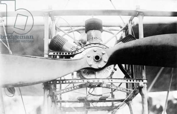 LOUIS BLERIOT (1872-1936) French engineer and pioneer aviator. Front of Bleriot's monoplane showing engine and propeller, October 1909.