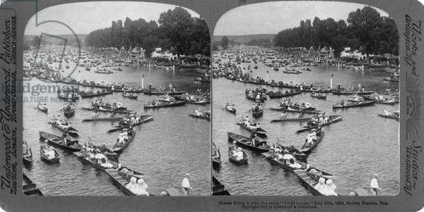 ROYAL HENLEY REGATTA, 1902 The Royal Henley Regatta race at Henley-on-Thames, England. Stereograph, 10 July 1902.
