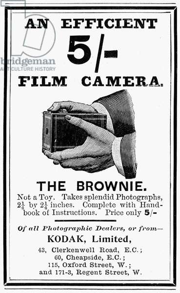 KODAK ADVERTISEMENT, 1900 English advertisement for the Kodak Brownie camera, 1900.