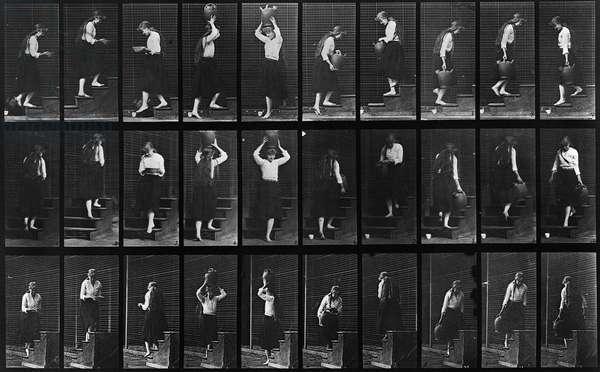 MUYBRIDGE: LOCOMOTION Photographic study of a series of consecutive images of a woman carrying vessels up and down steps by Eadweard Muybridge in c.1887.