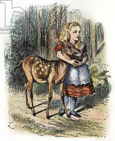 DODGSON: LOOKING GLASS Alice and the fawn. Illustration by Sir John Tenniel from the first edition of Lewis Carroll's 'Through the Looking Glass,' 1872.