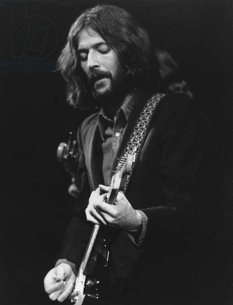 ERIC CLAPTON (1945-) British musician Eric Clapton performs at the Fillmore East in New York in 1968 as part of the 'Delaney and Bonnie and Friends' concert.