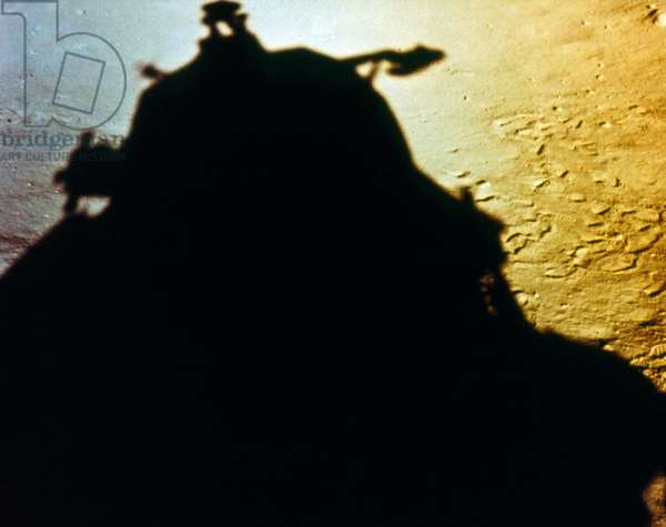 APOLLO 11: LUNAR MODULE Shadow of the Apollo 11 lunar module on the lunar surface after landing on 20 July 1969.