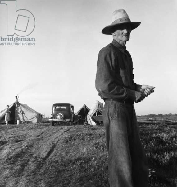 Refugees from the Oklahoma drought camping by the roadside, 1935 (b/w photo)