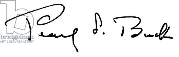 PEARL BUCK (1892-1973) American novelist. Autograph signature.
