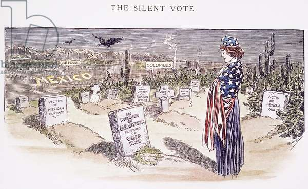 CARTOON: VILLA, 1916 'The Silent Vote.' Cartoon commemorating the Americans who died in Pancho Villa's raid on Columbus, New Mexico of that year. Cartoon by Luther D. Bradley, 1916.