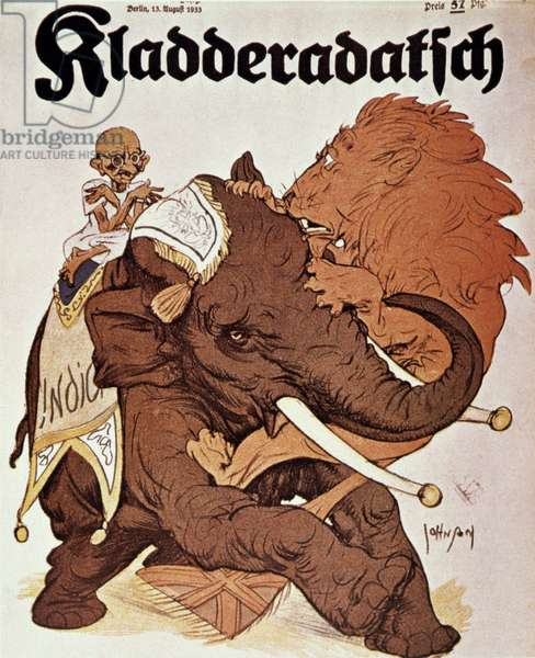 MOHANDAS GANDHI (1869-1948) The Indian elephant, guided by Indian nationalist and spiritual leader Mohandas Gandhi, attacks the British lion. German cartoon, 1933.