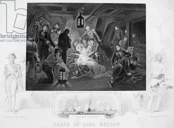 DEATH OF NELSON, 1805 The death of Horatio Nelson aboard the HMS Victory at the Battle of Trafalgar, 21 October 1805. Steel engraving, 19th century.