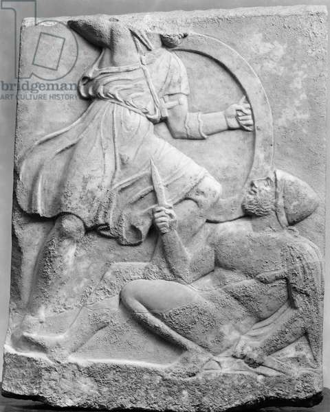 ANCIENT GREECE: COMBAT Gravestone commemorating the death of a soldier, depicting combat, possibly between a Spartan and Athenian during the Peloponnesian War. Late 5th century B.C.