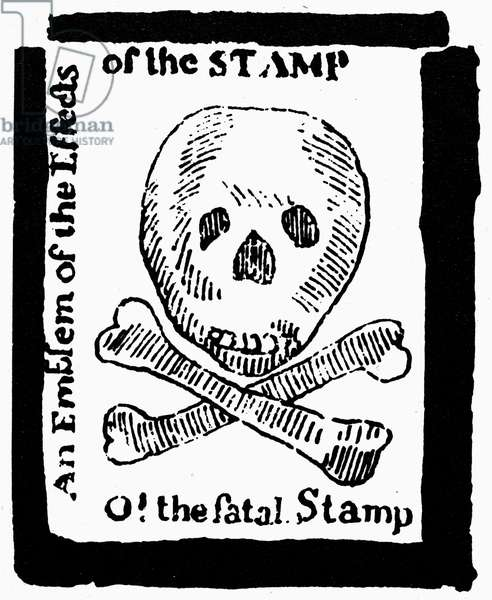 STAMP ACT: CARTOON, 1765 'O! the fatal Stamp.' A warning inspired by the Stamp Act, printed in the 'Pennsylvania Journal,' 1765.