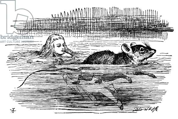 ALICE IN WONDERLAND, 1865. Alice swimming in the pool of her own tears with the Mouse. Illustration by Sir John Tenniel from the first edition of Lewis Carroll's 'Alice's Adventures in Wonderland,' 1865.