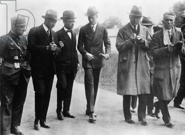 CHARLES A. LINDBERGH (1902-1974). American aviator. Lindbergh talking to reporters in Paris after his successful non-stop trans-Atlantic flight, May 1927.