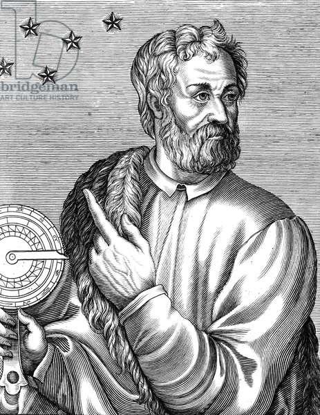 CHRISTOPHER COLUMBUS (1451-1506). Italian navigator. Woodcut, Flemish, 1695.