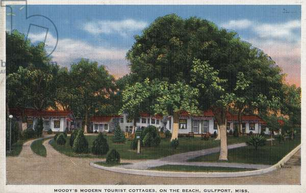 MISSISSIPPI: COTTAGES Moody's Modern Tourist Cottages on the beach at Gulfport, Mississippi. Postcard, American, c.1939.