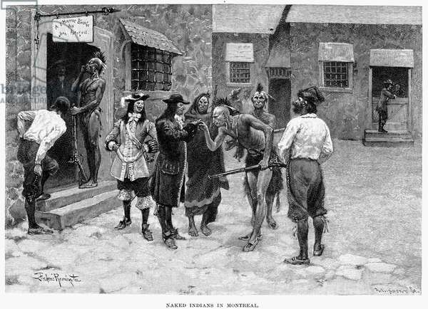 CANADA: FUR TRADE Native Americans and voyageurs in 17th century Montreal. Wood engraving, 1891, after Frederic Remington.