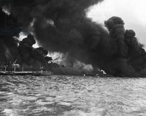 WORLD WAR II: PEARL HARBOR The USS West Virginia following the Japanese attack on the U.S. naval base at Pearl Harbor, Hawaii, 7 December 1941.
