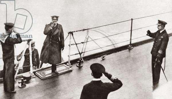 WORLD WAR I: SURRENDER German Admiral Von Meurer and staff boarding the British flagship of Admiral Beatty to arrange for surrender. Photograph, c.1914.