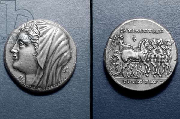 ROMAN COIN: QUEEN PHILISTIS Silver 16 litrai coin of Queen Philistis of Syracuse. Obverse: Philistis. Reverse: Nike driving quadriga.