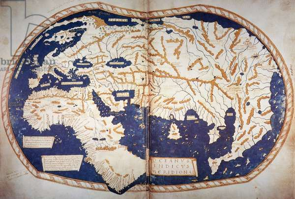 MARTELLUS: WORLD MAP, 1489 World map, c.1489, of Henricus Martellus, copies of which are believed to have reached Christopher Columbus in Spain and Martin Behaim in Nuremberg where, in 1492, he constructed his terrestrial globe.