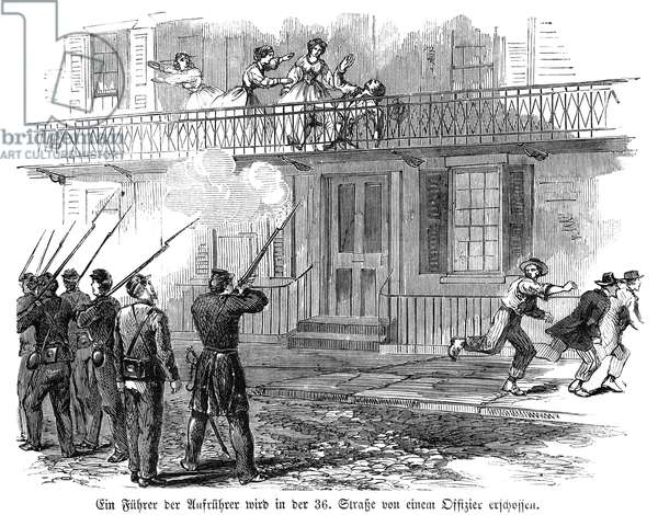 CIVIL WAR: DRAFT RIOTS A leader of the draft rioters shot by an Army officer on 36th Street during the New York City Draft Riots of July 13-16, 1863: wood engraving from a contemporary German-language American newspaper.