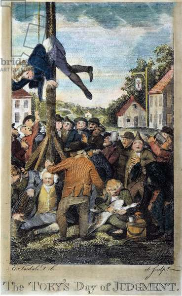 "STAMP ACT, 1765 A Tory stamp agent strung up on a Liberty Pole while another is about to be tarred and feathered in an anti-Stamp Act demonstration in 1765: coloured  engraving from John Trumbull's ""M'Fingal,"" 1765."