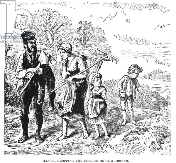 GRIMM: HANSEL AND GRETEL 'Hansel dropping pebbles on the ground.' Wood engraving, 19th century, for the fairy tale by the Brothers Grimm.