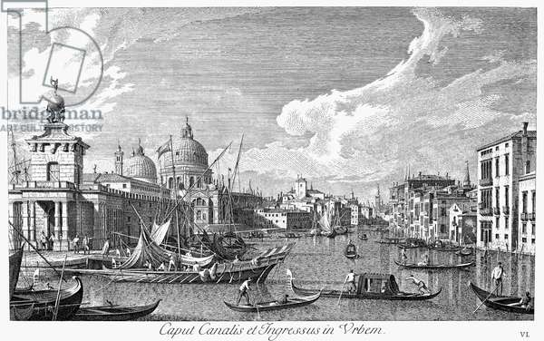 VENICE: GRAND CANAL, 1742 Entrance to the Grand Canal in Venice, Italy, looking west. Line engraving, 1742, by Antonio Visentini after Canaletto.