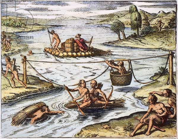 PERUVIAN ROPE BRIDGE, 1601 Peruvian Indians crossing a river by rope and on a raft made of dried pumpkins. Line engraving, 1601, from de Bry's workshop for 'De novi orbis natura' (Concerning the Nature of the New World).