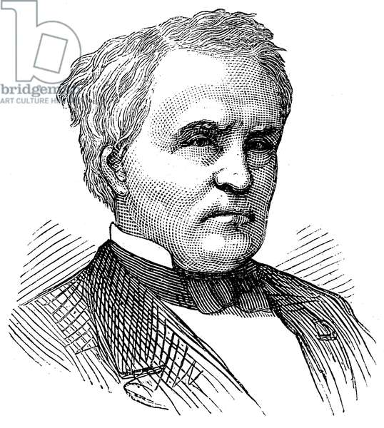 WILLIAM STRONG (1808-1895) American jurist. Wood engraving, c.1877.