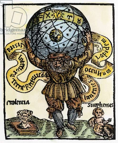ATLAS HOLDING UP HEAVENS Atlas, the titan condemned by Zeus to uphold the heavens on his shoulders: french woodcut, 1659.