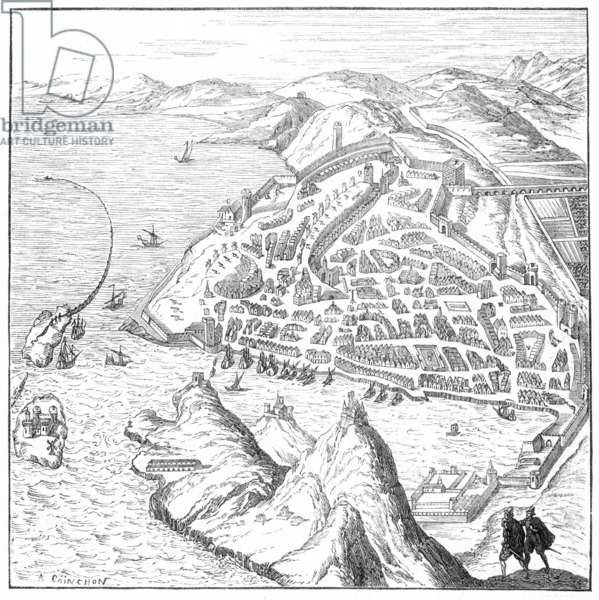 MARSEILLES, 16th CENTURY Marseilles and its harbor: after a 16th century engraving.