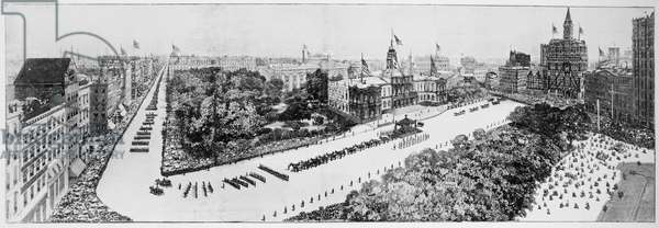 BURIAL OF ULYSSES S. GRANT Transferring the coffin of Ulysses S. Grant from the corridor of City Hall, New York City, to the catafalque on 8 August 1885. Contemporary wood engraving.