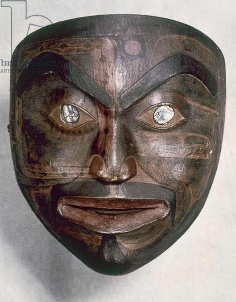 ALASKA: TLINGIT MASK Tlingit carved and painted 'Sky Man' mask, from Alaska.