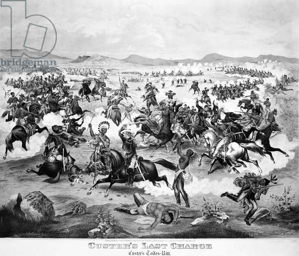 LITTLE BIGHORN, 1876 'Custer's Last Charge.' Lithograph, 1876.