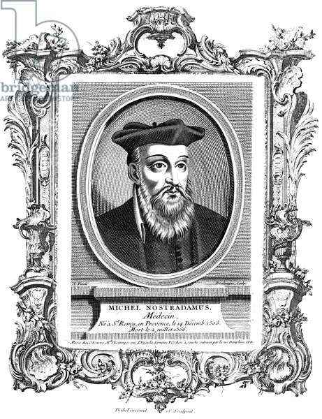 NOSTRADAMUS (1503-1566) French physician and astrologer. Copper engraving, French, 18th century.