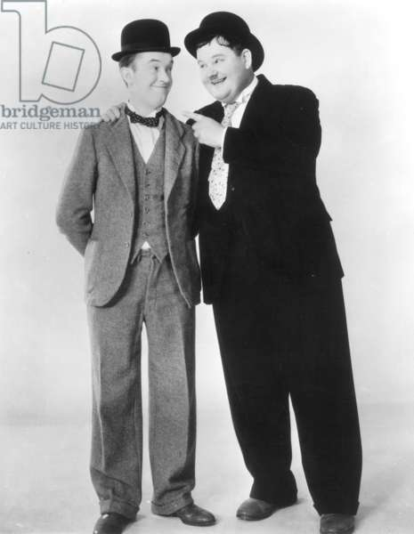 LAUREL AND HARDY Stan Laurel (1890-1965) and Oliver Hardy (1892-1957); publicity photo.