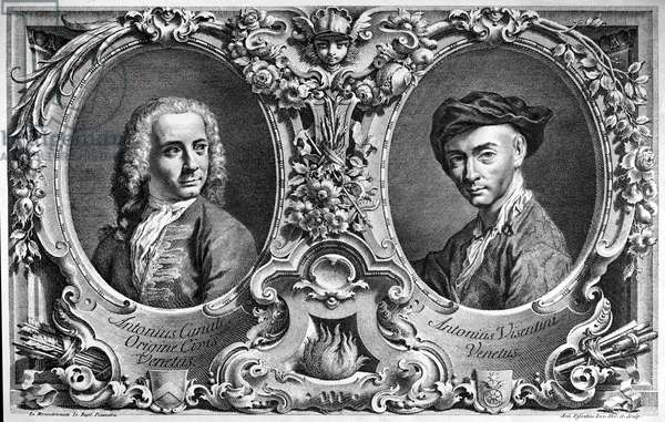CANALETTO & VISENTINI Italian artists Giovanni Antonio Canaletto (1697-1768) and Antonio Visentini (1688-1782). Engraving by Visentini after a monochrome by Giovanni Battista Piazzetta, 18th century.