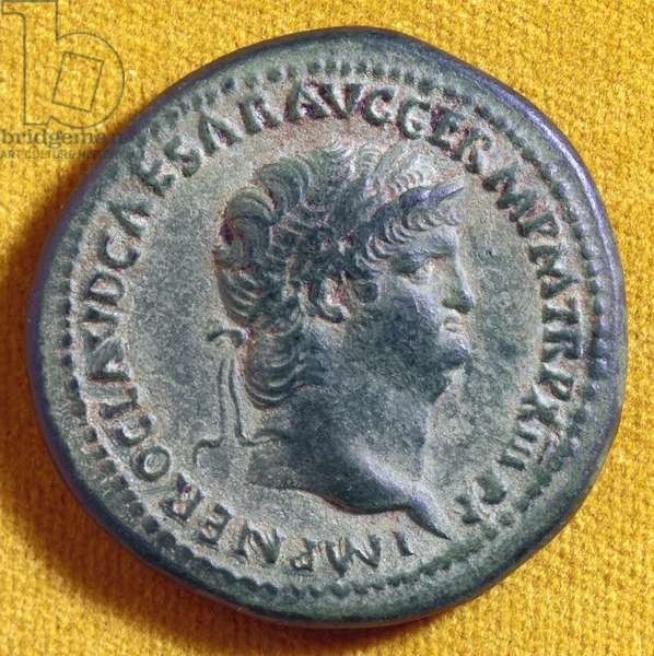 NERO (37-68 A.D.) Roman emperor, 54-68 A.D. Depicted on the obverse of a Roman coin, 66-67 A.D.