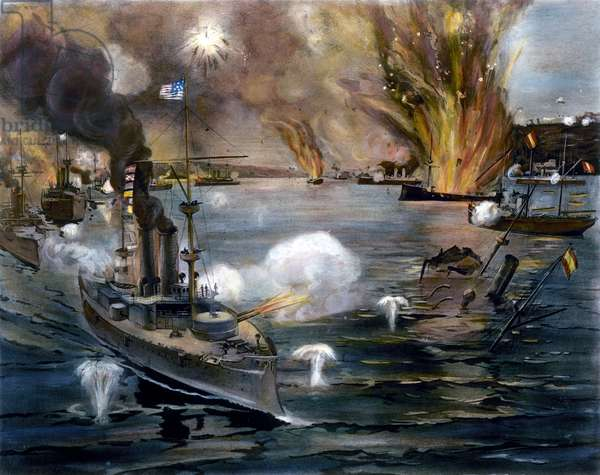 SPANISH-AMERICAN WAR, 1898 The Battle of Manila Bay, 1 May 1898. Contemporary American lithograph.